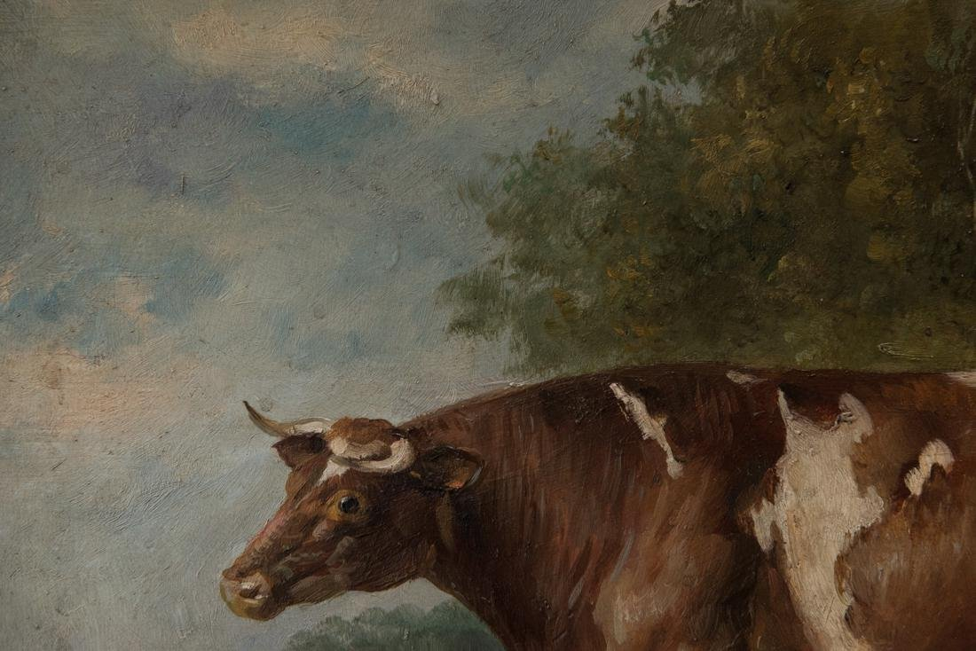 Antique American Folk Art Cow Portrait Oil - 7