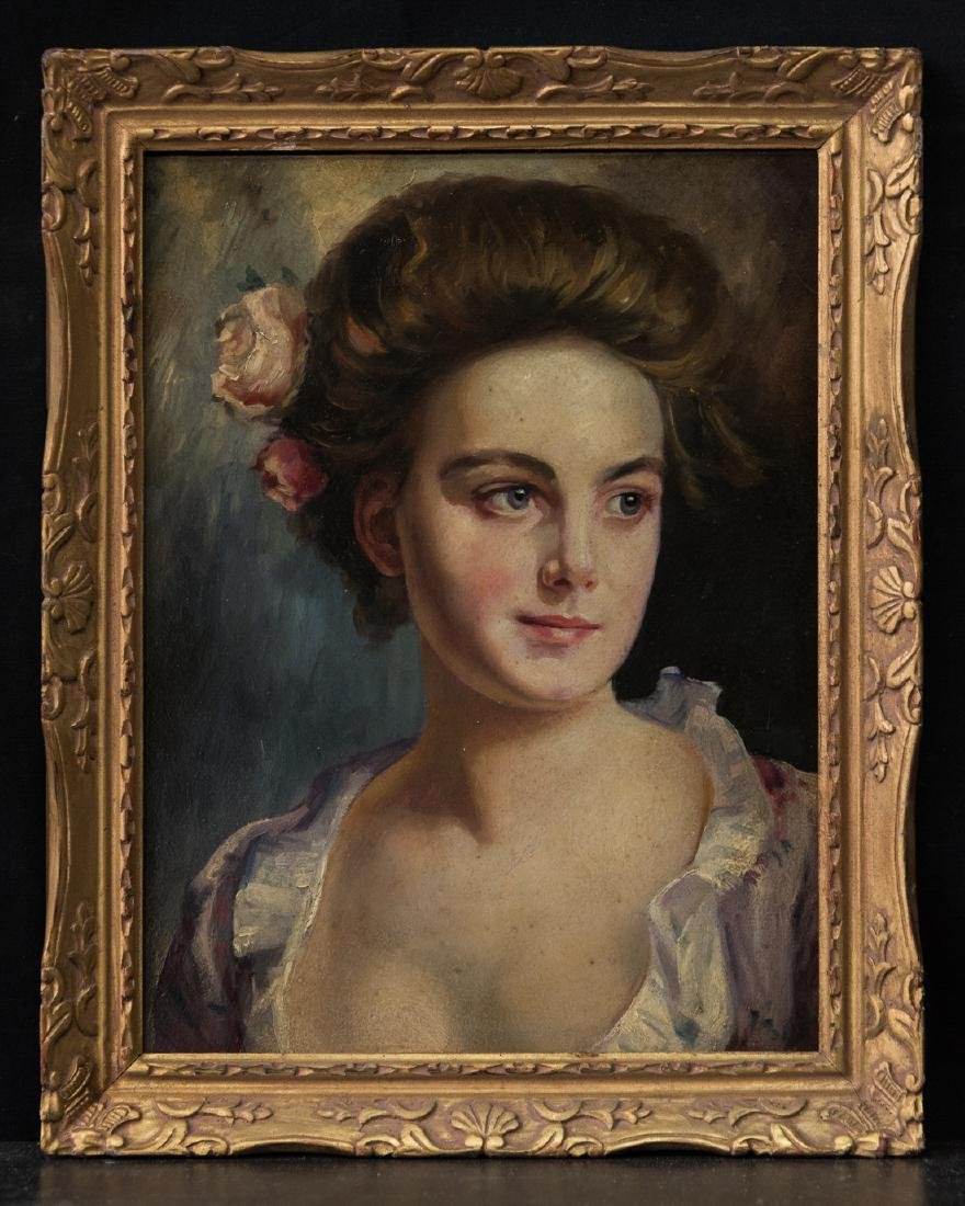 Portrait of Lady Oil On Copper