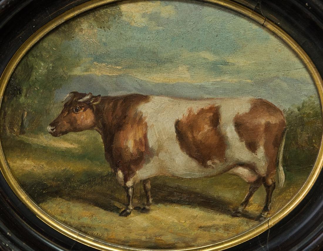 Antique American Folk Art Cow Portrait Oil - 2