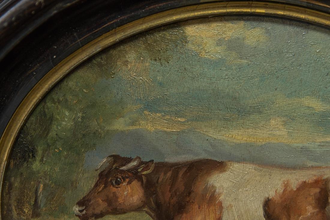 Antique American Folk Art Cow Portrait Oil - 3