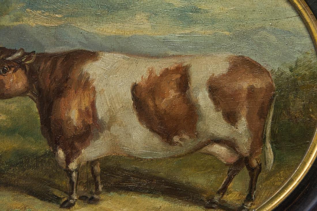 Antique American Folk Art Cow Portrait Oil - 7