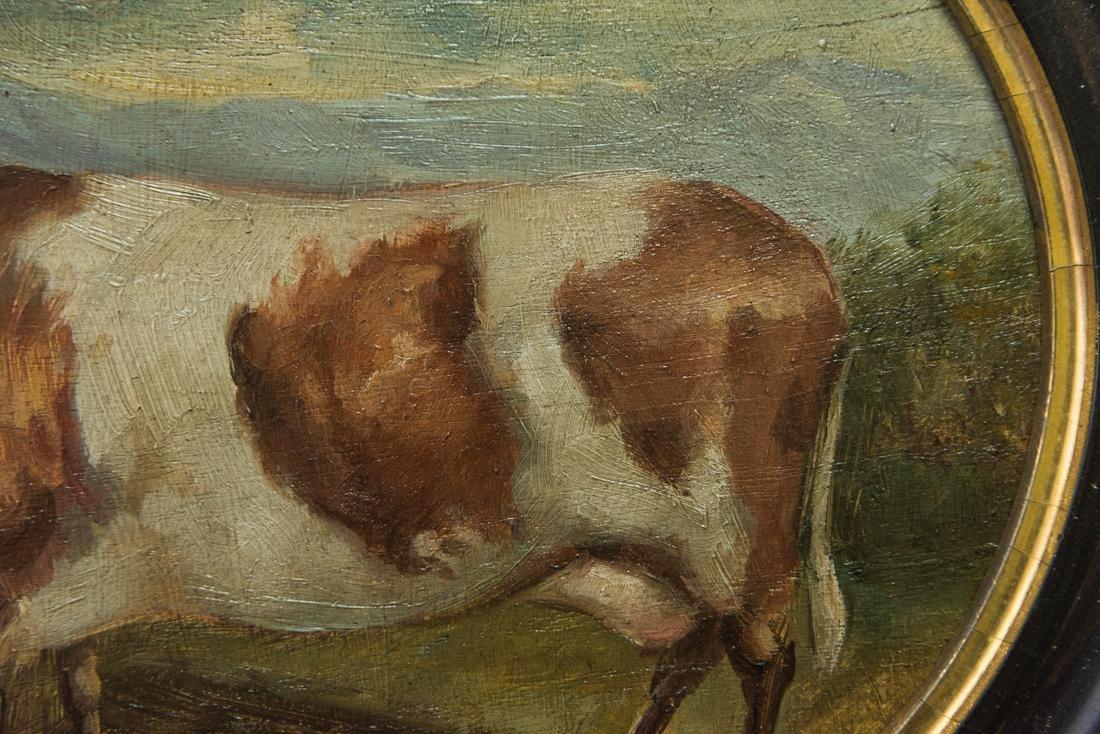 Antique American Folk Art Cow Portrait Oil - 9