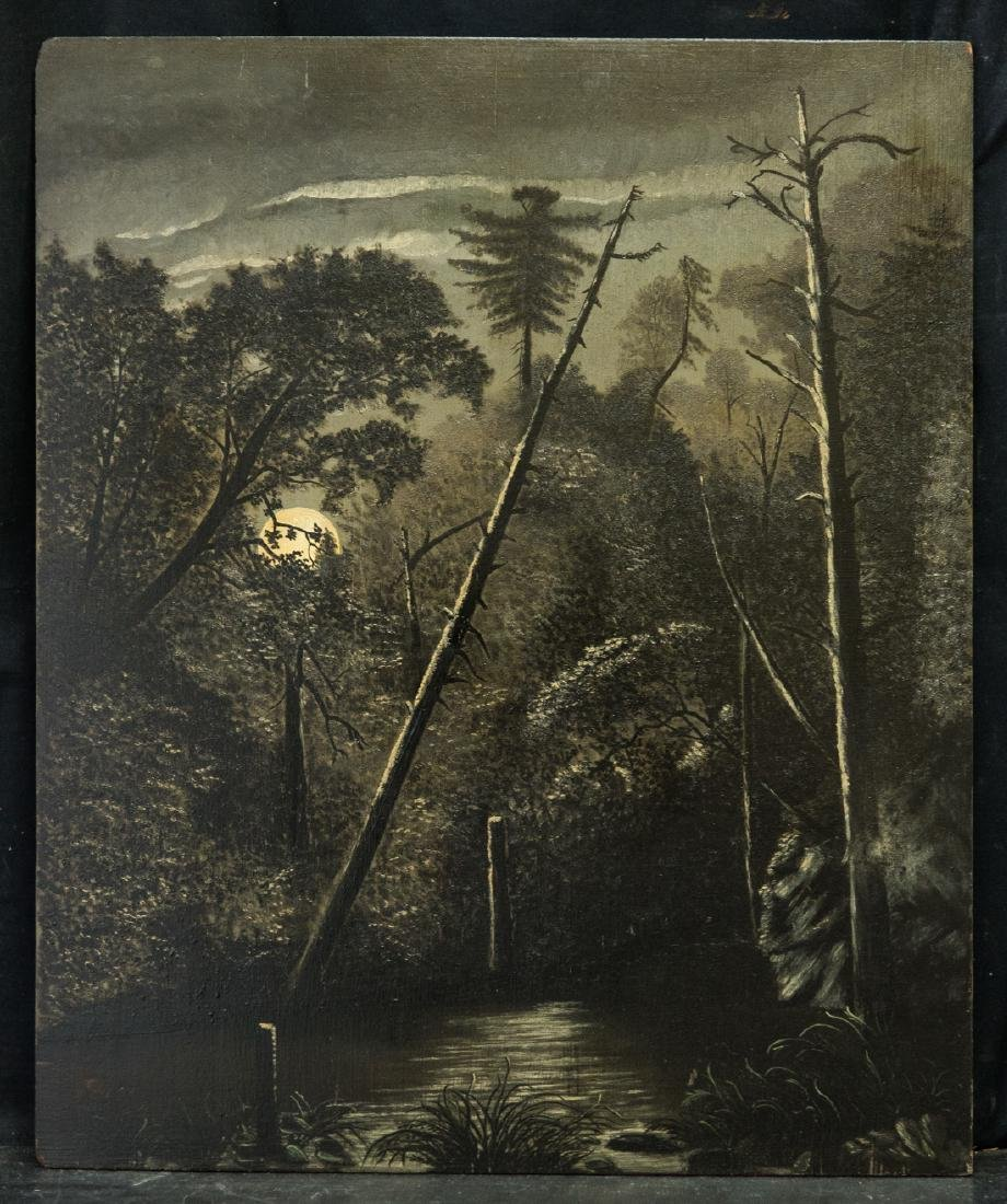 Antique Full Moon At Night Landscape Oil
