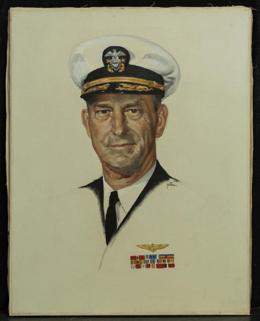Vintage Navy Officer Portrait Oil
