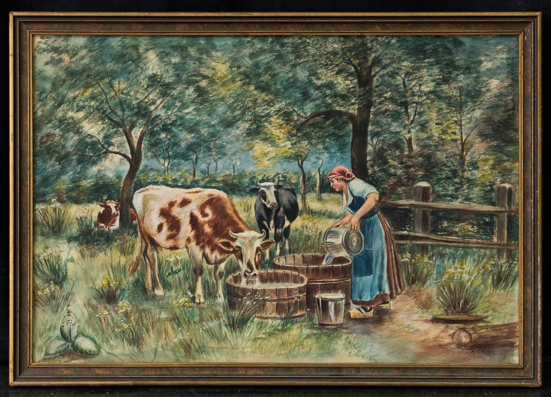 Antique 1915 Original Watercolor Feeding Cows