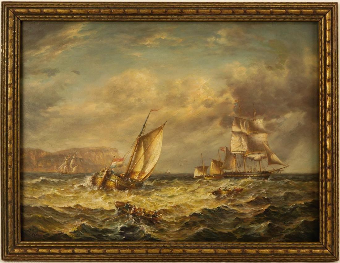 Sailships Oil on Artist Board