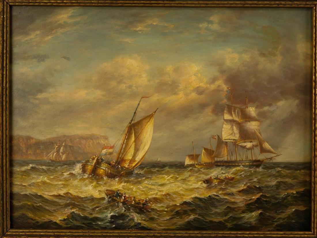 Sailships Oil on Artist Board - 2