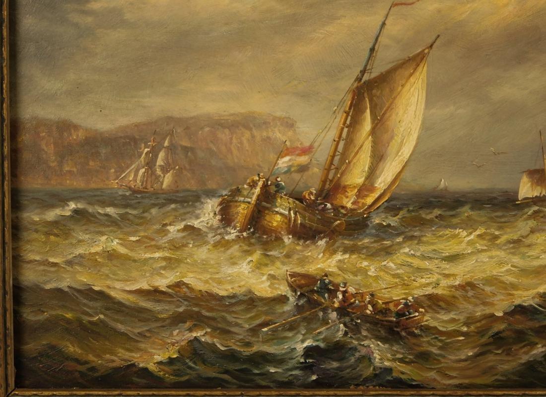 Sailships Oil on Artist Board - 4