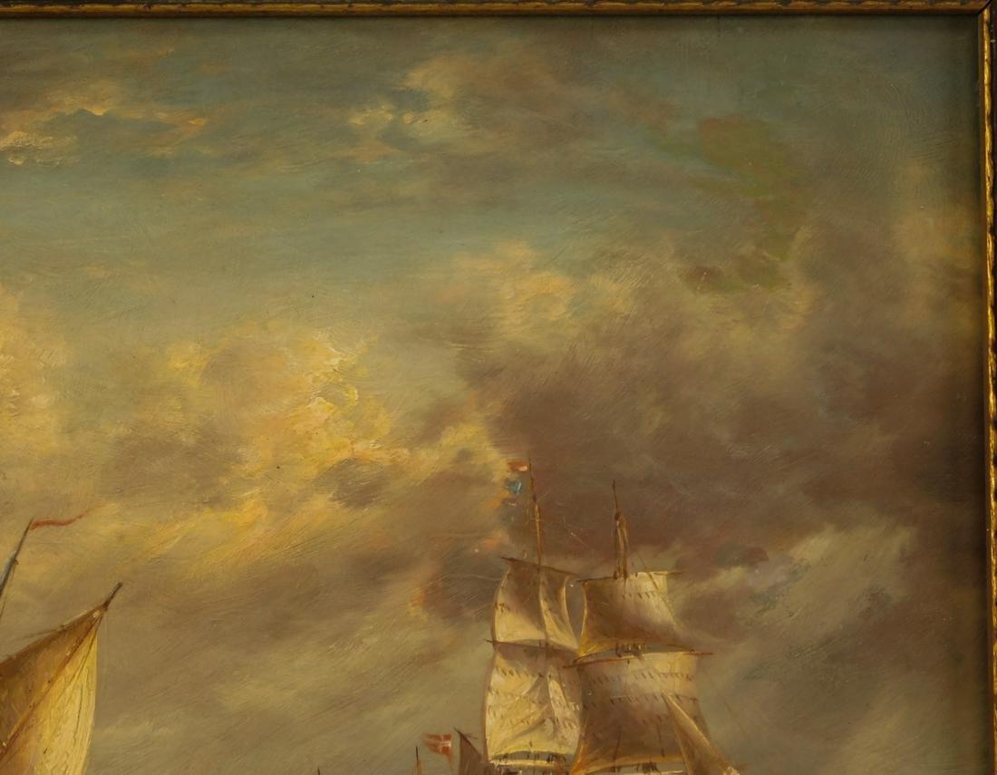 Sailships Oil on Artist Board - 5