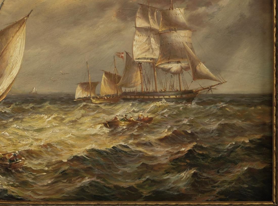 Sailships Oil on Artist Board - 6