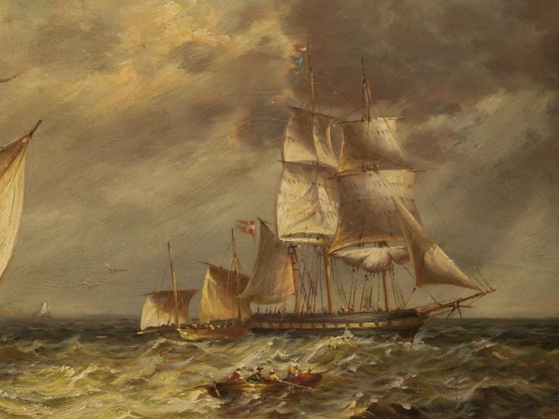 Sailships Oil on Artist Board - 8