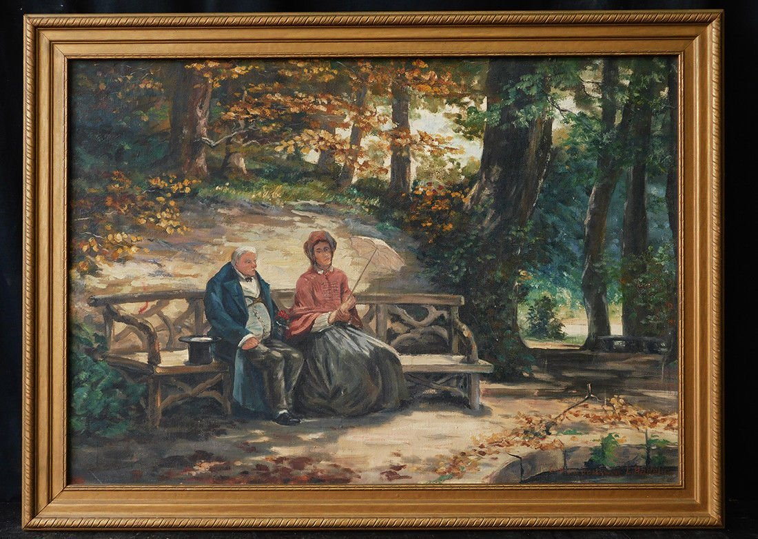 "Vintage European Oil Painting ""Couple in the Park"" Sign"