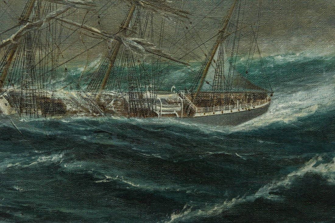 "Antonio Jacobsen 1850-1921 New York ""Mast Ship at Sea"" - 10"