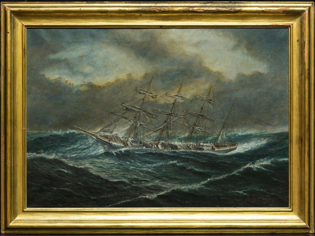 "Antonio Jacobsen 1850-1921 New York ""Mast Ship at Sea"""