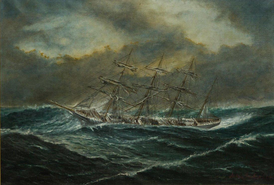 "Antonio Jacobsen 1850-1921 New York ""Mast Ship at Sea"" - 2"