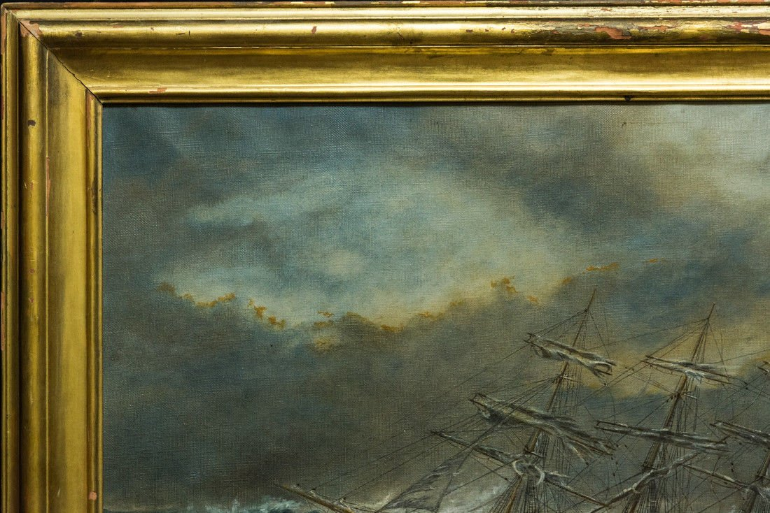 "Antonio Jacobsen 1850-1921 New York ""Mast Ship at Sea"" - 3"