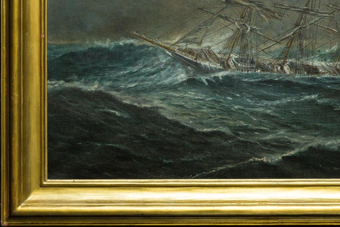 "Antonio Jacobsen 1850-1921 New York ""Mast Ship at Sea"" - 4"