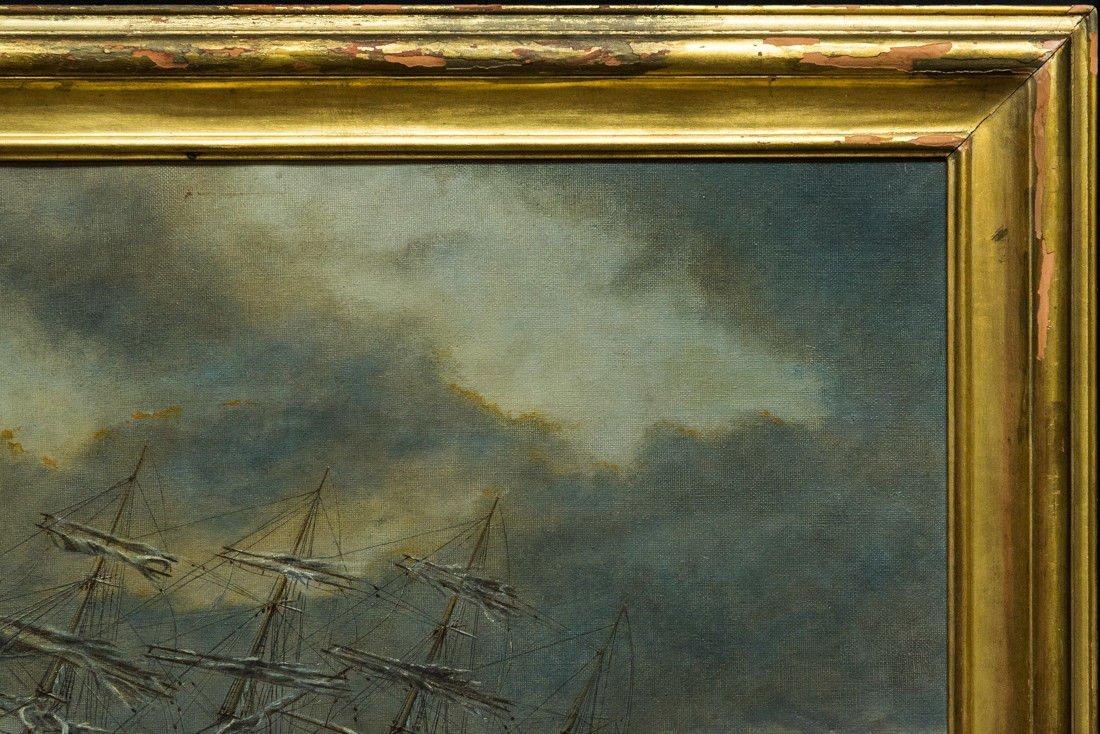 "Antonio Jacobsen 1850-1921 New York ""Mast Ship at Sea"" - 5"