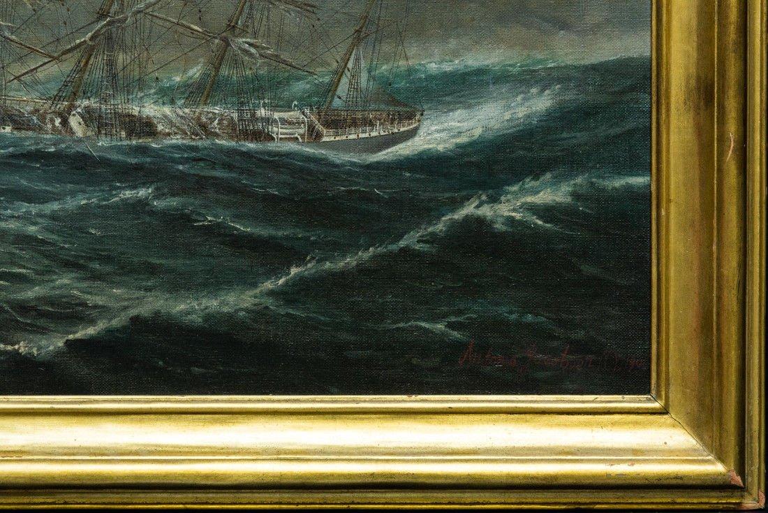 "Antonio Jacobsen 1850-1921 New York ""Mast Ship at Sea"" - 6"