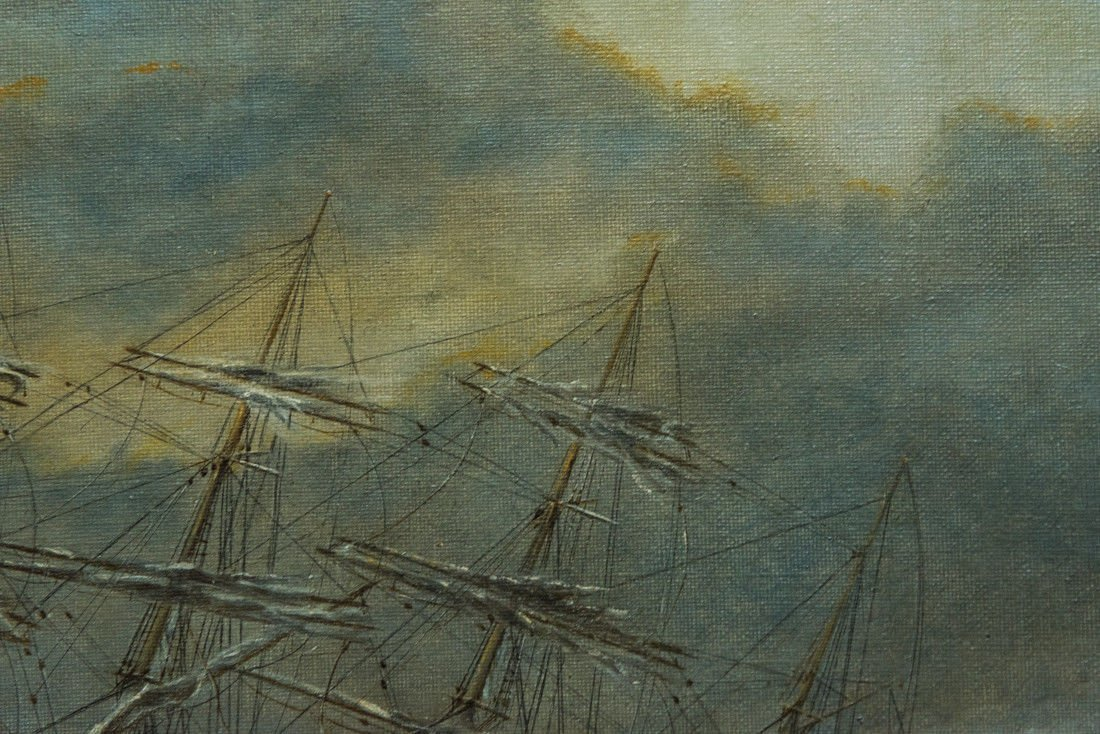 "Antonio Jacobsen 1850-1921 New York ""Mast Ship at Sea"" - 9"