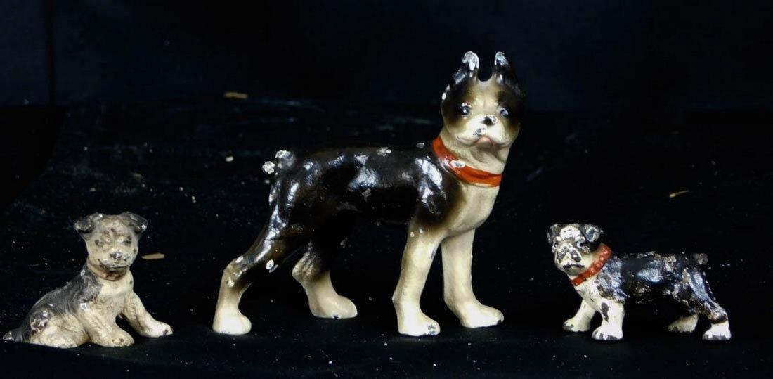 Antique Miniature Hubley Cast Iron Dog Figurines