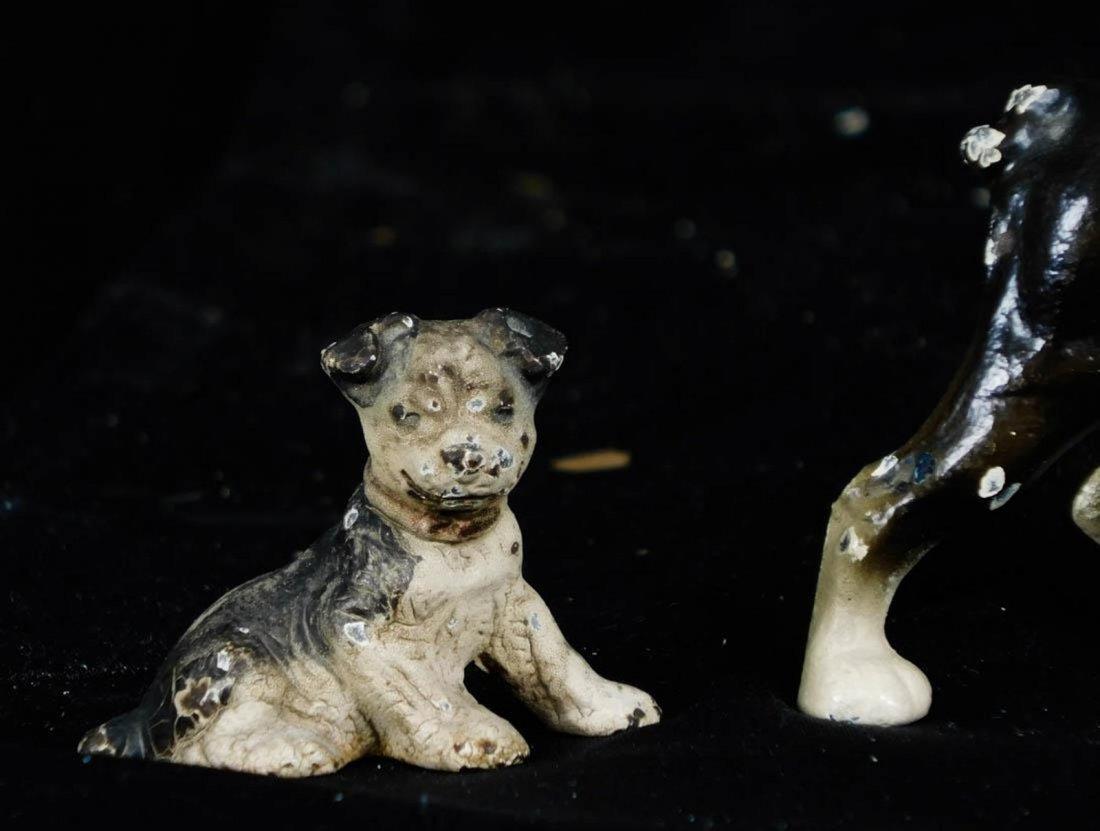 Antique Miniature Hubley Cast Iron Dog Figurines - 2