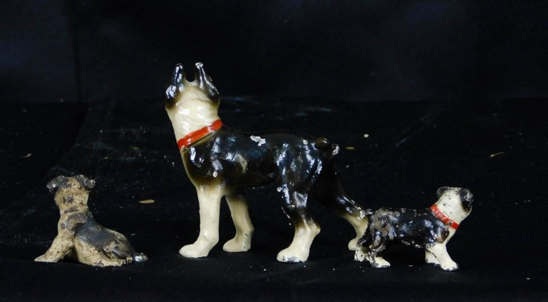 Antique Miniature Hubley Cast Iron Dog Figurines - 5