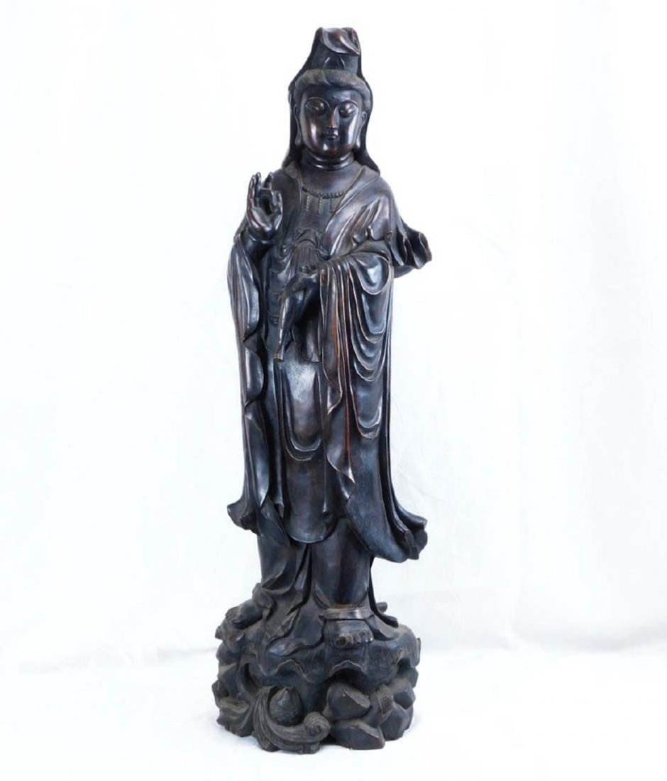 Rosewood Hand Carved Guanyin Statue
