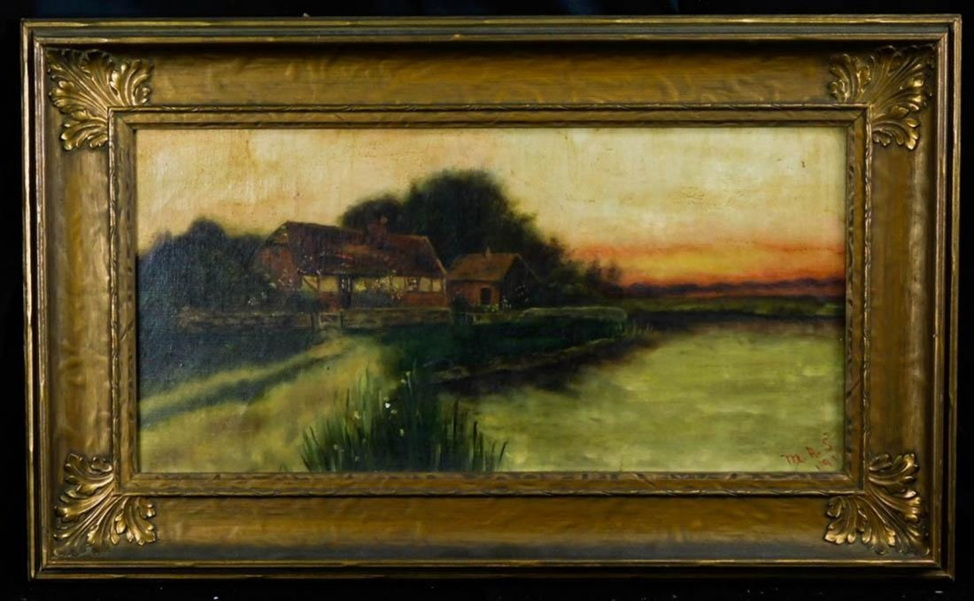 Lakeside Landscape at Sunset Oil
