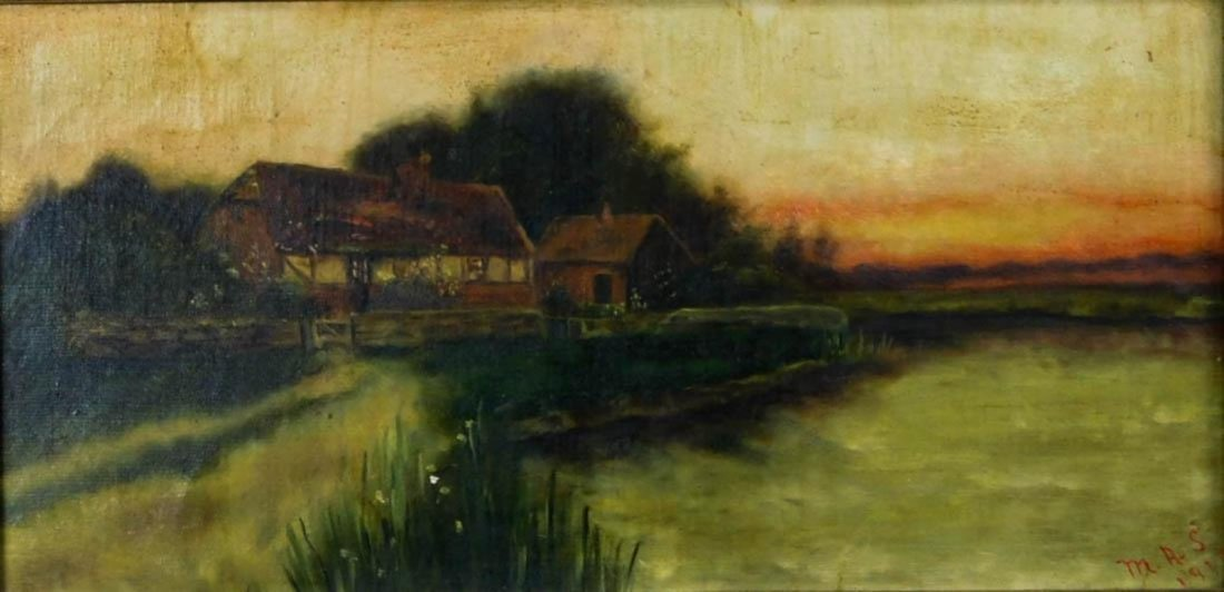 Lakeside Landscape at Sunset Oil - 2