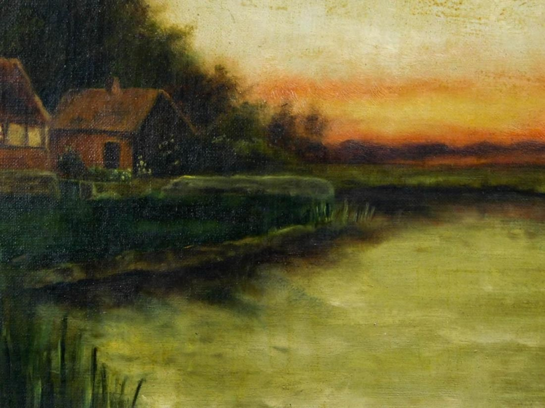 Lakeside Landscape at Sunset Oil - 5