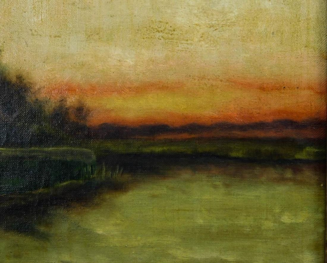 Lakeside Landscape at Sunset Oil - 6