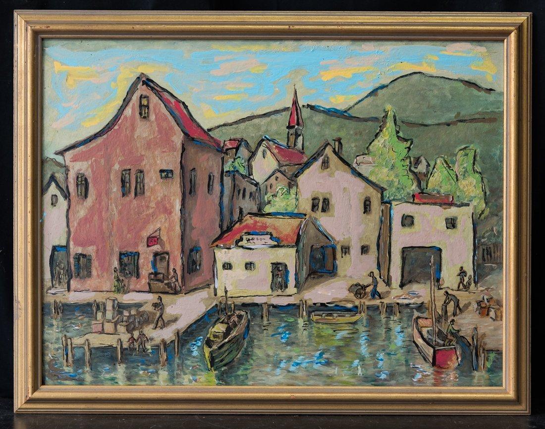 Modernist Harbor/Dock Scene Oil