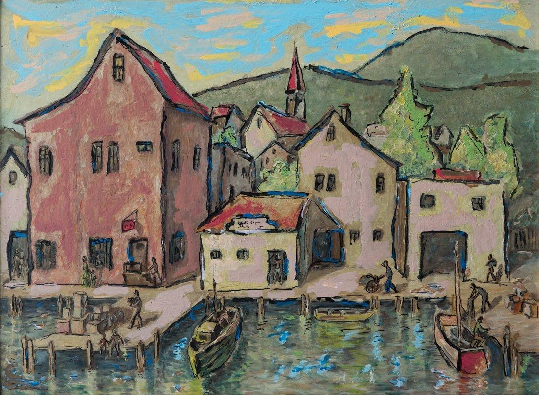 Modernist Harbor/Dock Scene Oil - 2