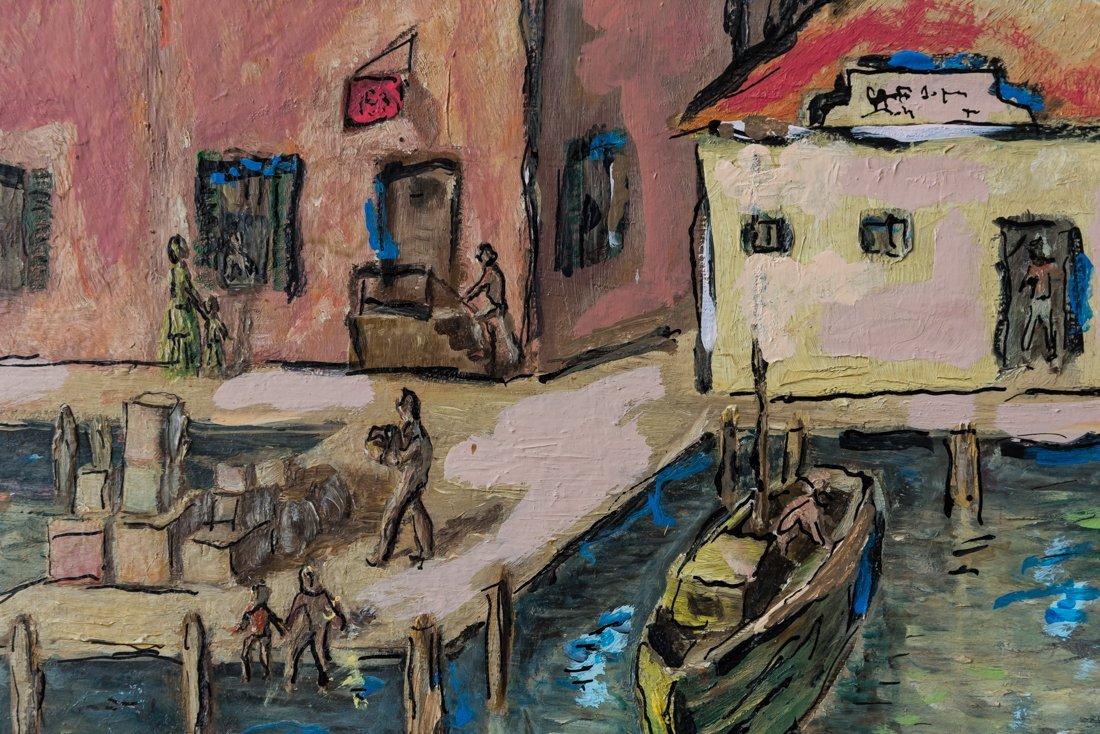 Modernist Harbor/Dock Scene Oil - 6