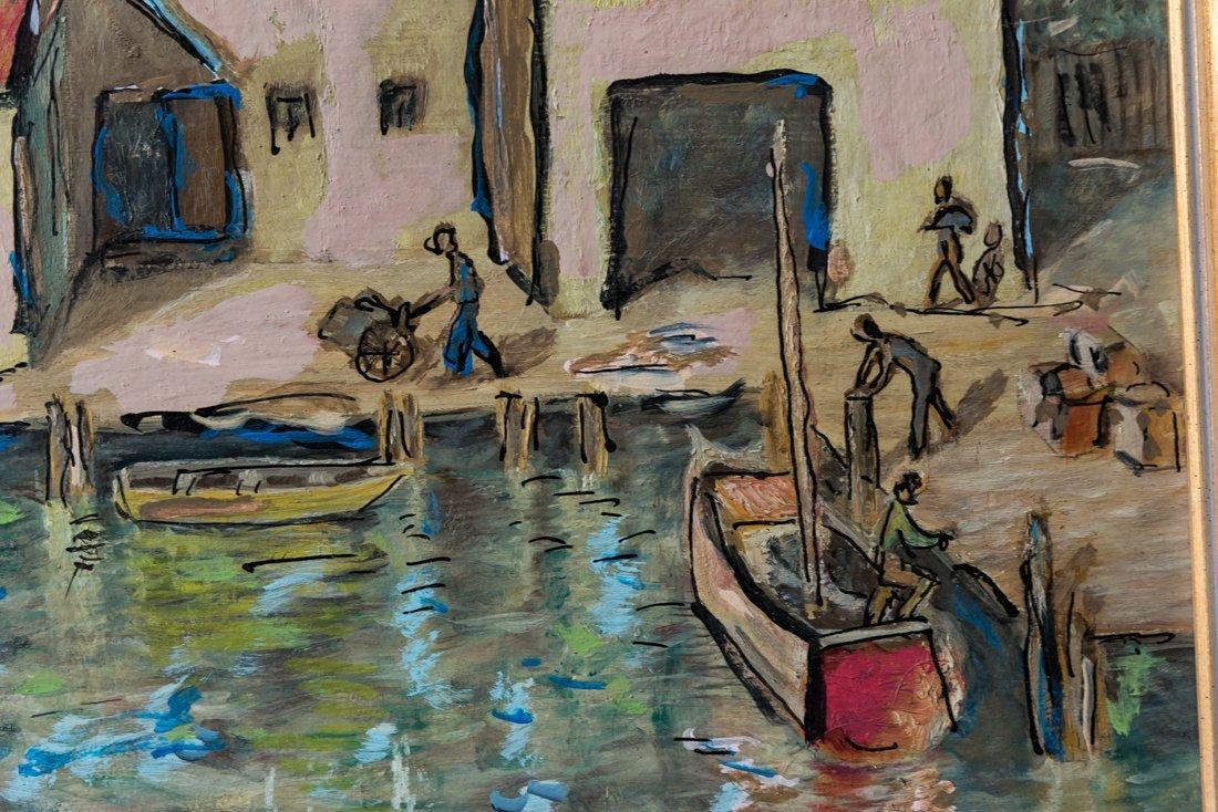 Modernist Harbor/Dock Scene Oil - 8