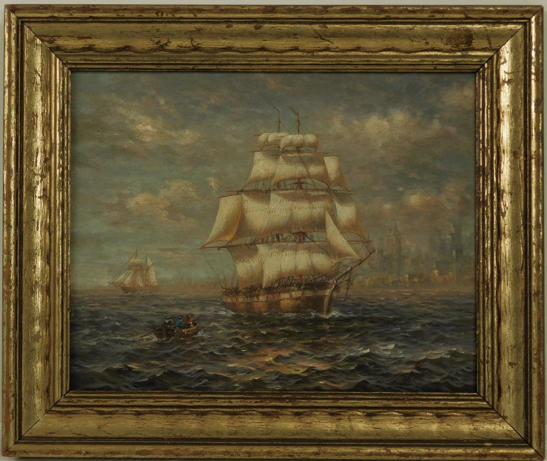 "Early 20th Century Oil Painting ""Ships In New York"