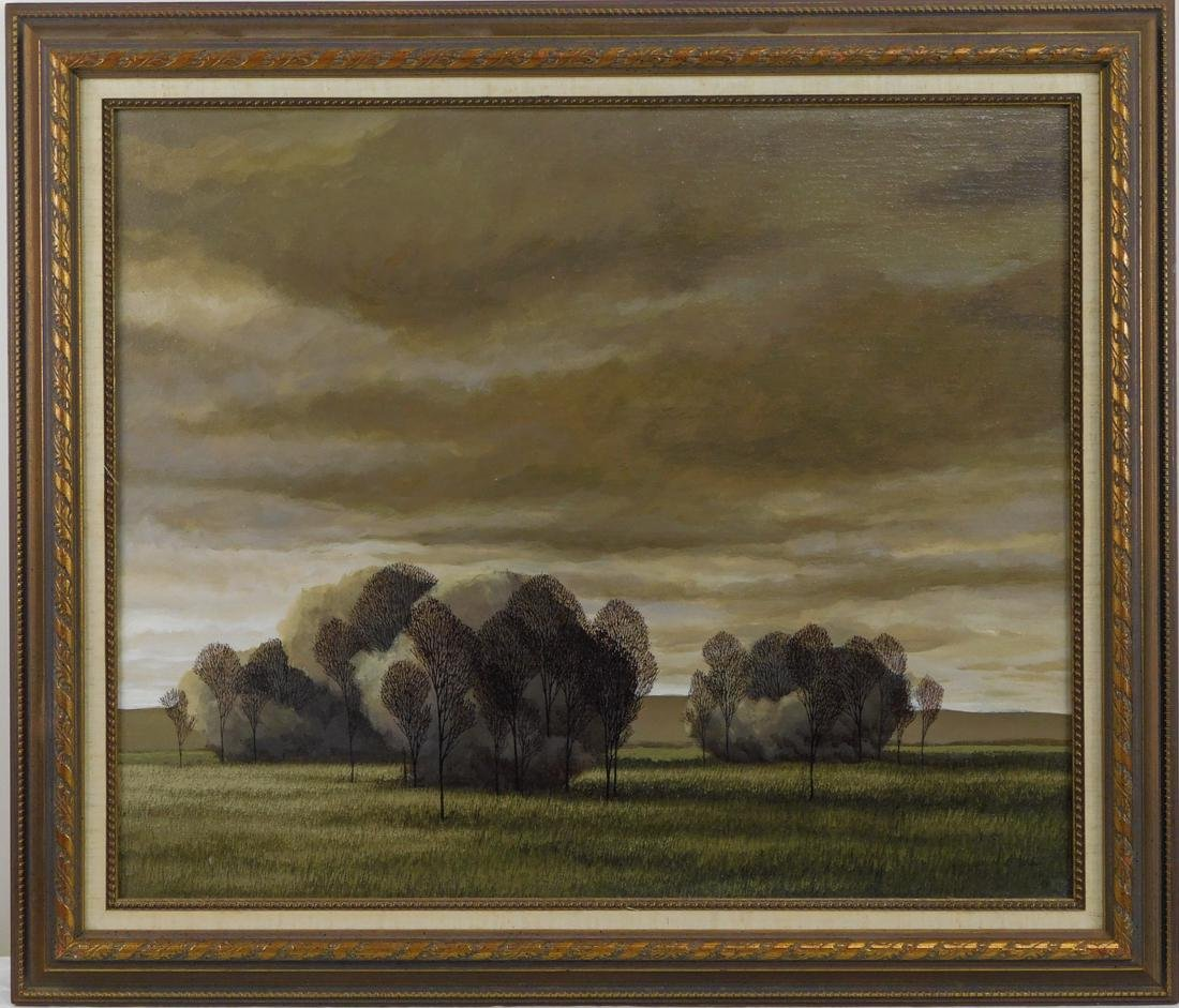 "Vintage Realism Oil Painting ""Landscape with Trees"""