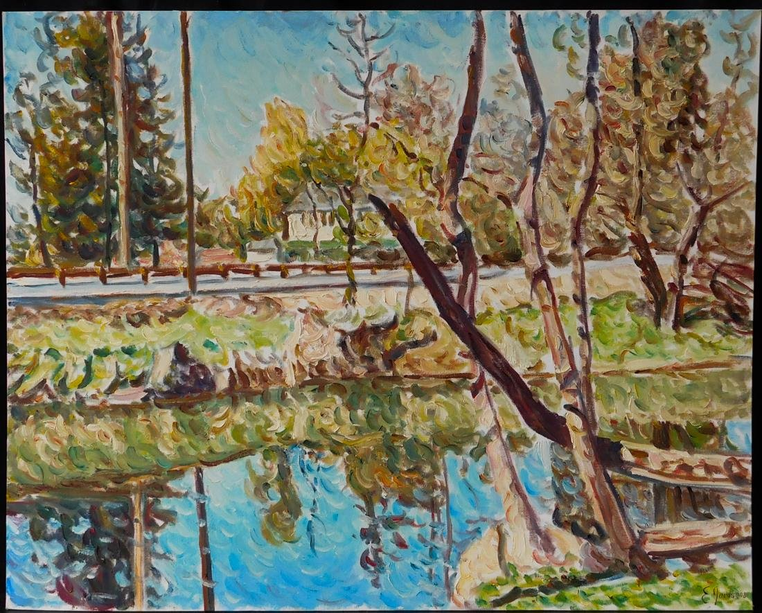 "Original Impressionist Oil Painting ""Riverside"""