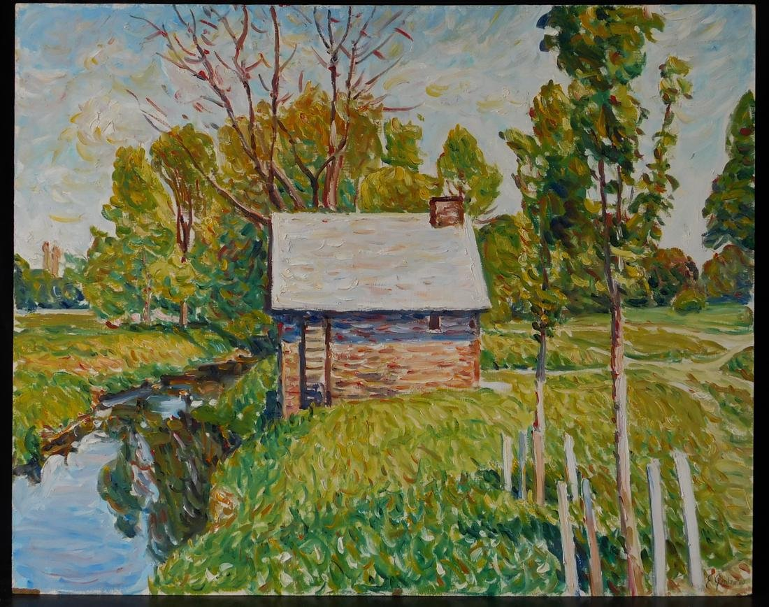 "Original Impressionist Oil Painting ""House by River"""