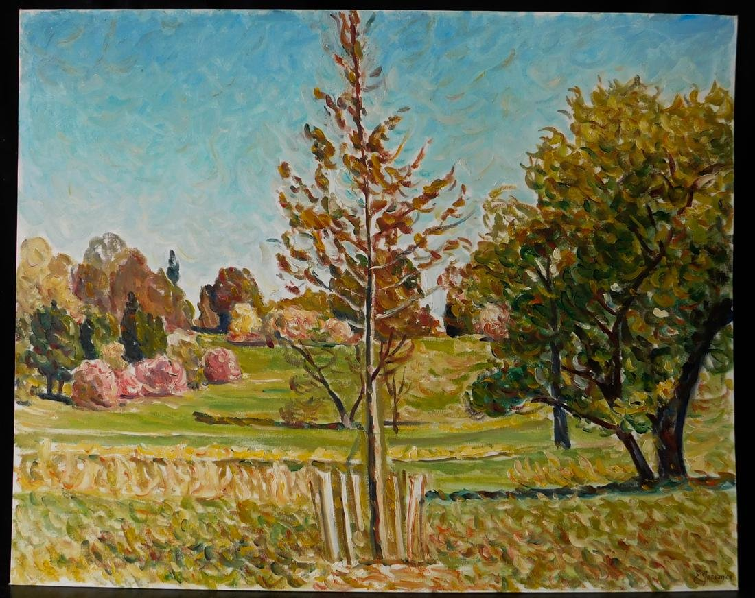 "Original Impressionist Oil Painting ""Landscape with"