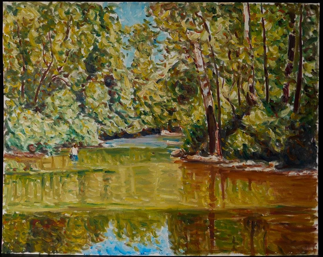 "Original Impressionist Oil Painting ""Pond with Figure"""