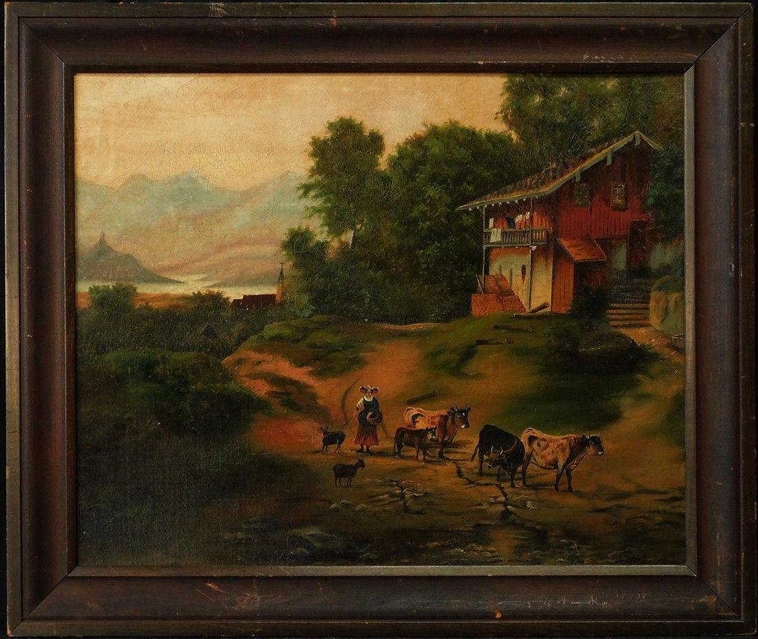 Antique Folk Art Oil Painting Dutch/Germany Village
