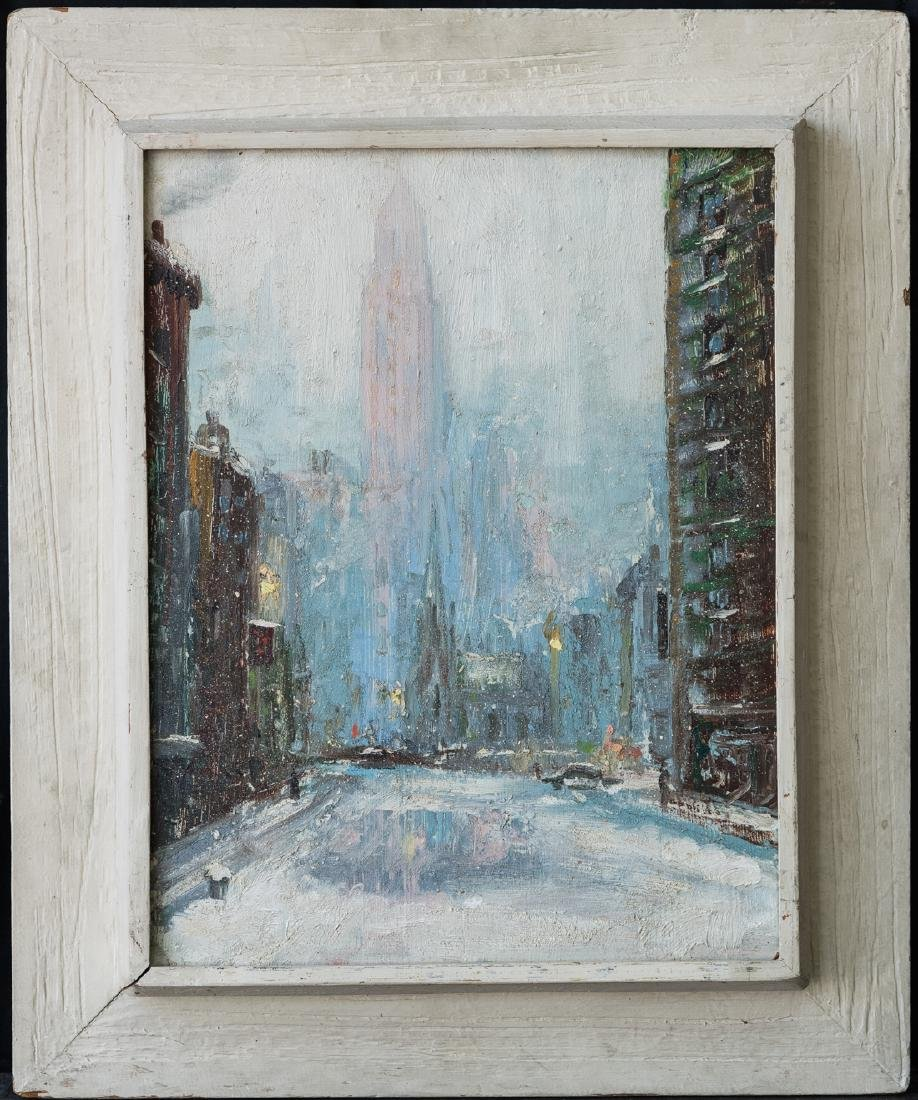"Leon Dolice  (NY1892 - 1960) Oil Painting ""NYC in"