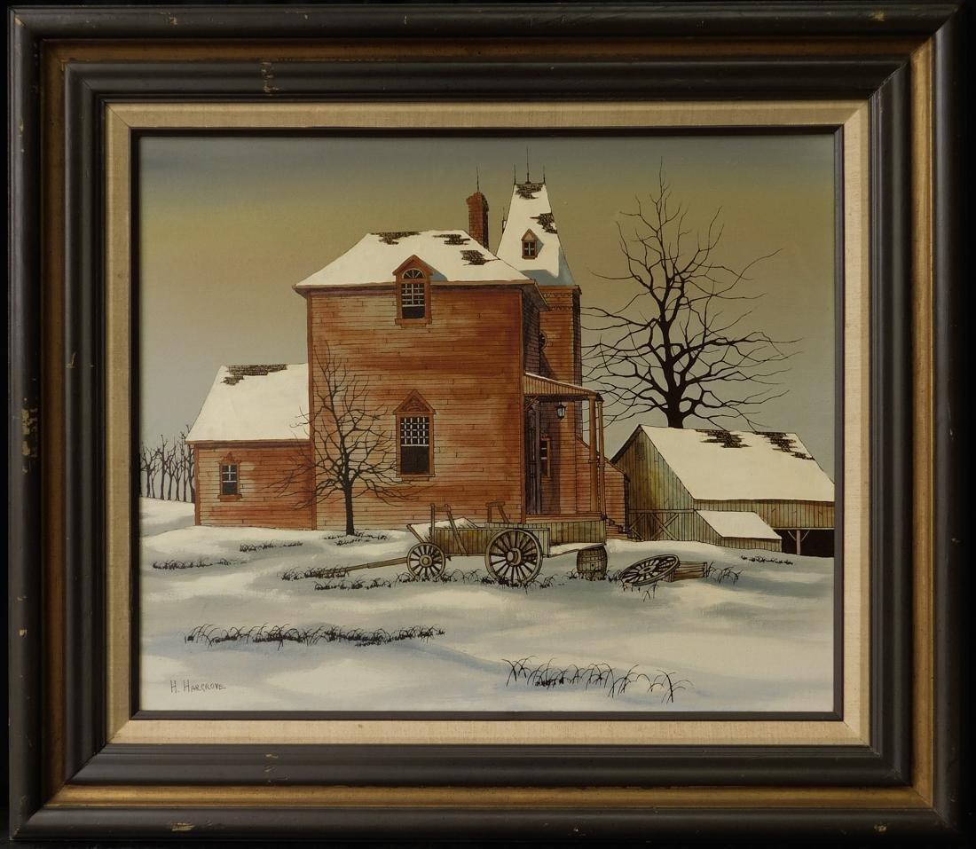 "Vintage American Oil Painting ""House in Winter"""