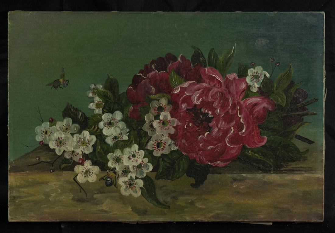 Antique Still Life Flowers and Bees
