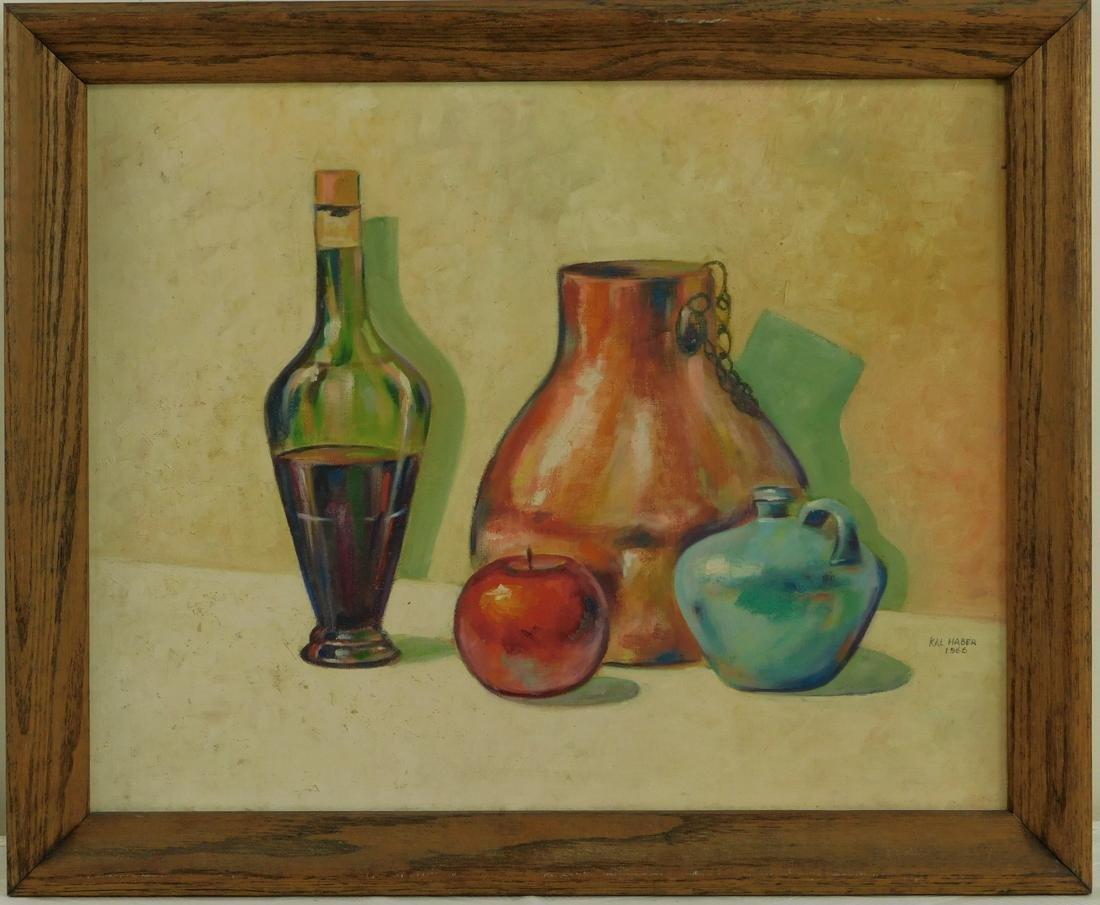 """Vintage Oil on Board Still Life"""" Apple, Wine & Vase """""""