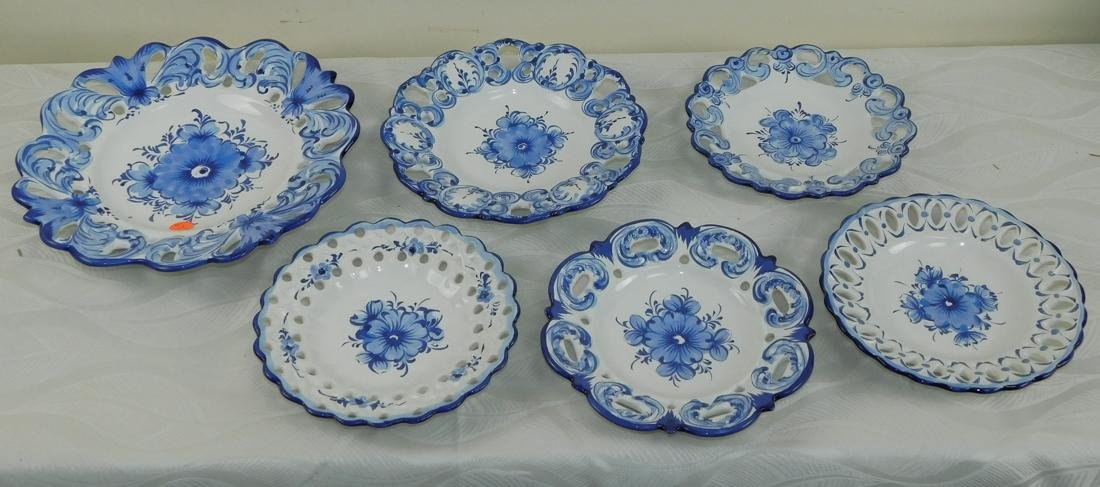 Set of 6 Pcs Vestal hand painted Blue & White plate