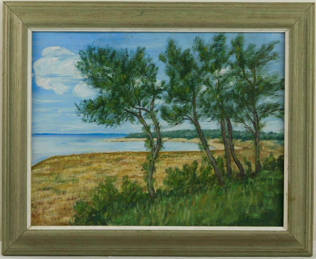 Vintage Oil Painting Summer Beach Scene