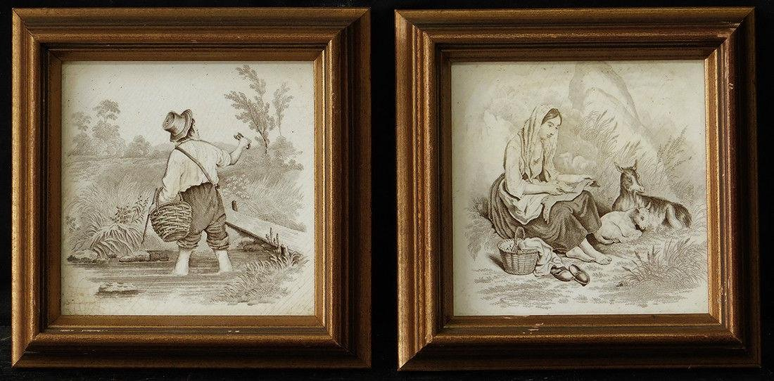 """Pair of Old Oil Painting on Tile """"Couple's Life"""""""